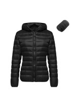 Feminine Hooded Black Plus Size Packable Jacket Zip Opening