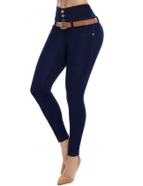 Slimming Dark Blue Buttock Lifter Jeans Front Four Buttons