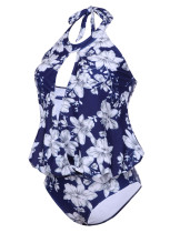Naughty  Hollow Out Large Floral One Piece Swimsuit Wireless Holiday Fashion