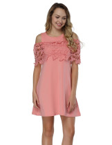 Pink Round Neck Cold Shoulder Dresses Quality Assured