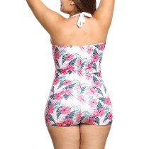 Shop Flower Print Halter Swimsuit Feminine Elegance Big Size