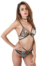 Relaxing Black Multiple-Way Straps Bralette Set Metal Buckle Outfits