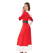 Flashy Long Sleeve Miss Claus Robe Santa Claus Costume
