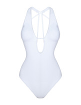 Adorable White One Piece Bathing Suit Halter Neck Crossover Straps
