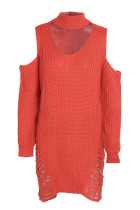 Distressed Red Ripped Hem Jumper Dress Full Sleeve Cold Shoulder