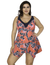 Staple Orange Print Tankini Set Adjustable Straps Beach Honeymoon