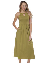Green Round Neck Cami Straps Long Dresses Female Charm