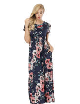 Form-Fitting Navy Blue Flower Printing Maxi Dress Side Pockets