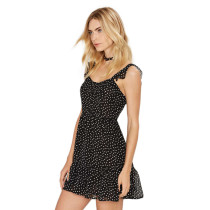 Fabulously Ruffle Straps Layered Polka Dot Chiffon Dress