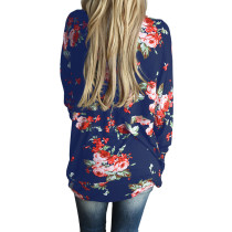 Blue Allover Flower Pattern Autumn Open Front Jacket Long Sleeves