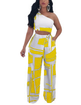 Nautically Yellow Crop Top Printed Wide Leg Trousers High Waist
