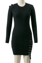 Slim Fit Winter Black Club Ribbed Knitting Mini Dress Long Sleeves