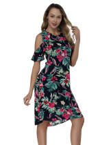 Navy Blue Printing Flounce Mini Dresses Round Neck Outfits