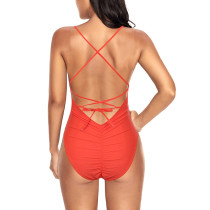 Astonishing Orange Baring Back Bathing Suit High Leg Cut Comfort Fabric