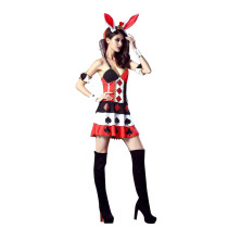 Elaborate Poker Queen Bunny Ear Devil Costume