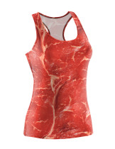 Awesome Racerback Digital Meat Pattern Tank Top Quick Drying