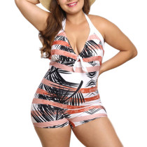 Enthralling Wireless Rainforest Print 1 Piece Swimsuit Plus Size