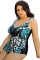 Scoop Back Big Size Printing Wireless One Piece Swimwear