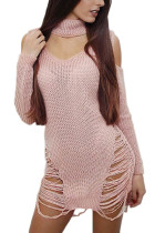Fabulous Pink Knit Sweater Mini Dress Choker Long Sleeves V-Neck
