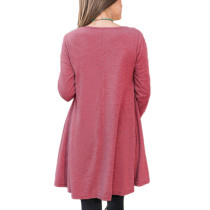 Relaxed Winter Red Two Layer Tops Full Sleeve Round Neck