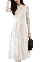 Slimming White Leaf Lace Swing Dress Long Sleeves V-Neckline