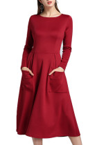 Elegant Winter Wine Red Swing Mid Calf Dress Patch Pocket