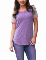 Dreamy Color Splicing Purple Tees Short Sleeves Round Neck