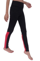 Stretchable Color Block Long Black Yoga Leggings