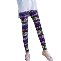 Stretchable Premium Christmas Brushed Snowflake Pattern Leggings