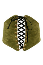 Green Imitation Leather Corset Belt Eyelet Lace Up