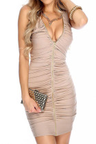 Hot Stuff Bodycon Club Ruffle Front Dress Zipper Sleeveless