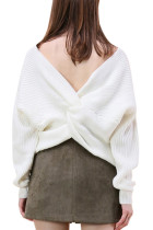 Elegant Fall Knitting White Open Back Sweaters Pullover