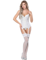 Stretch White Lace Stitching Bustier Bowknot Decor Formawear