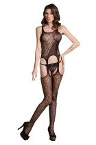 Sexy Black Mature Floral Lace Bodystocking Netted Bodysuit