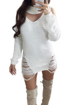 Luscious Curvy Pullover White Bodycon Jumper Dress Wrapped Hip