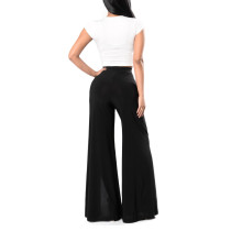 Solid Black Front Split Palazzo Pants Loose Fit