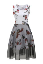 Dreamy White Round Neck Floral Print Vest Dress A-Line Cut