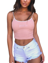 Exclusive Embroidery Light Pink Cropped Camisole Slender Strap Fashion
