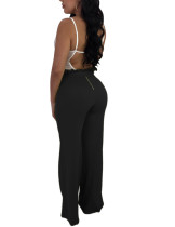 Ultimate Black Lettuce Trim Palazzo Pants Tie Waist High Quality