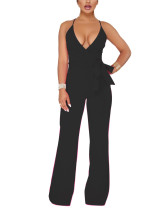 Black Cami Straps V Neck Bodysuit High Waist Women Fashion Style