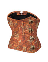 12 Fish Scales Bone Brown Brass Clasp Underbust Corset Crossover Back