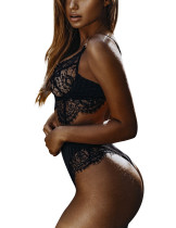 Black Floral Lace Lingerie Set Eyelash Lace Bralette Stretch