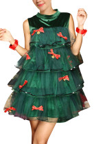 Classic Green Christmas Tree Dress Costume Sleeveless With Shorts
