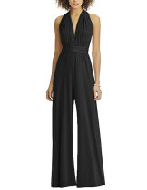 V-Neck Wide Leg Black Multi-Way Jumpsuit High Waist Weekend Fashion