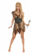 Irregular Hem One Piece Cave Girl Halloween Costume