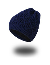 Slouchy Navy Blue Oversized Thick Knitted Cap Winter Warm