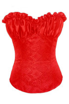 Sexy Plus Size Red Renaissance Satin Corset Top