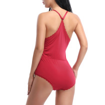 Sweet Fantasies Red Teddy Sleepwear Elastic Waist Sleeveless