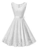 Fabulous White Lace Plus Swing Dress With Bowknot Belt