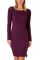 Stretchable Skinny Dark Purple Knit Bodycon Dress Lace-Up Shoulder